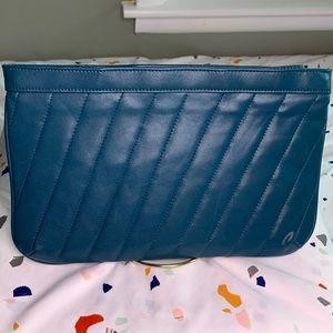 Vintage Teal Blue Leather Clutch w/ Wristlet